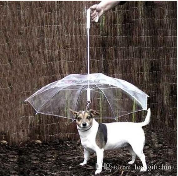 Cool Pet Supplies Useful Transparent PE Pet Umbrella Small Dog Umbrella Rain Gear with Dog Leads Keeps Pet Dry Comfortable in Rain