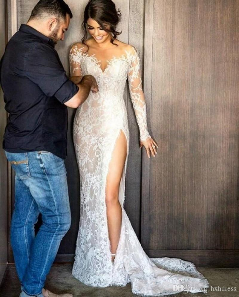 2019 New Split Lace Wedding Dresses With Detachable Skirt Long Sleeves Sheath Illusion Back High Slit Overskirts Bridal Gowns Cheap 049
