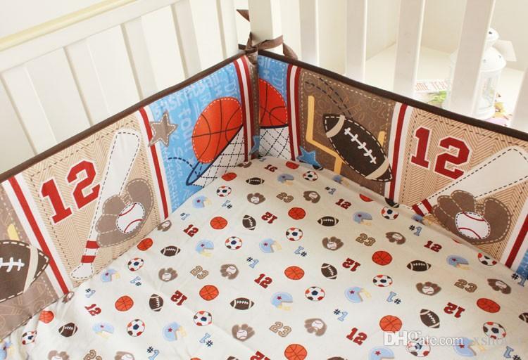 Motif de broderie 3D feuilles de basket-ball Lettre Ensemble de literie pour bébé garçon Ensemble de literie pour lit de bébé 100% coton Ensemble de literie pour lit de bébé, etc.