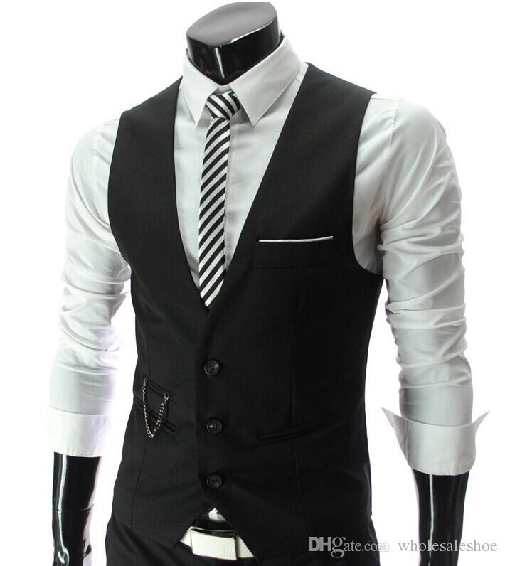 2017 Men Vests Outerwear Mens Vest Man Casual Suits Slim Fit ...