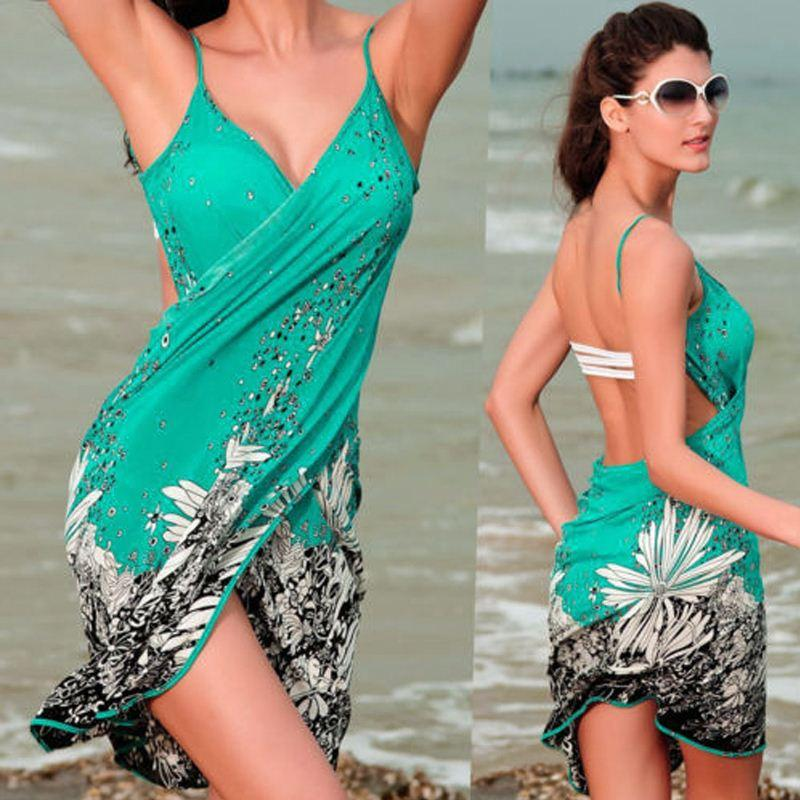 Donna Sexy Costumi da bagno Estate Bikini Cover Up Beach Sarong Wrap Dress Womens New