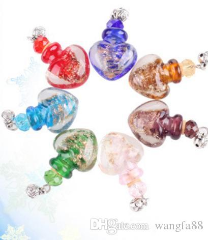 Murano Lampwork Glas Anhänger Aromatherapie Anhänger Halsketten Schmuck Parfüm Fläschchen Flasche Anhänger ätherisches Öl Diffusor Halskette