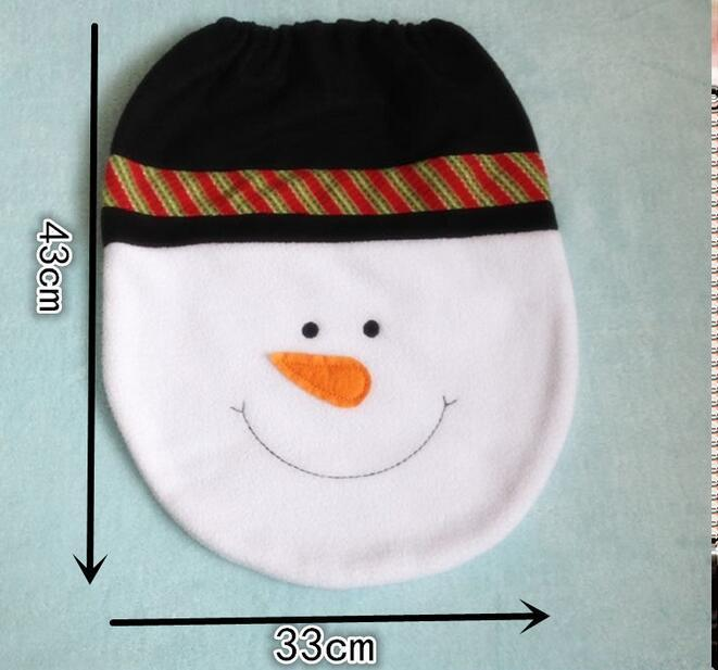 Snowman Toilet Seat Cover and Rug Bathroom Set Christmas Decoration, Toilet cover, The tank cover, Tissue boxes, Pads