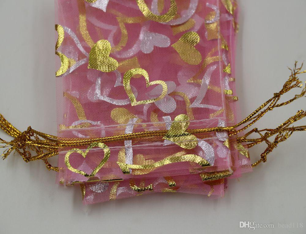 هيئة التصنيع العسكري المجوهرات التعبئة 100 قطع الوردي القلب الأورجانزا الحقيبة الزفاف الإحسان هدية أكياس 7x9 سنتيمتر / 9x12 سنتيمتر / 13x18 سنتيمتر