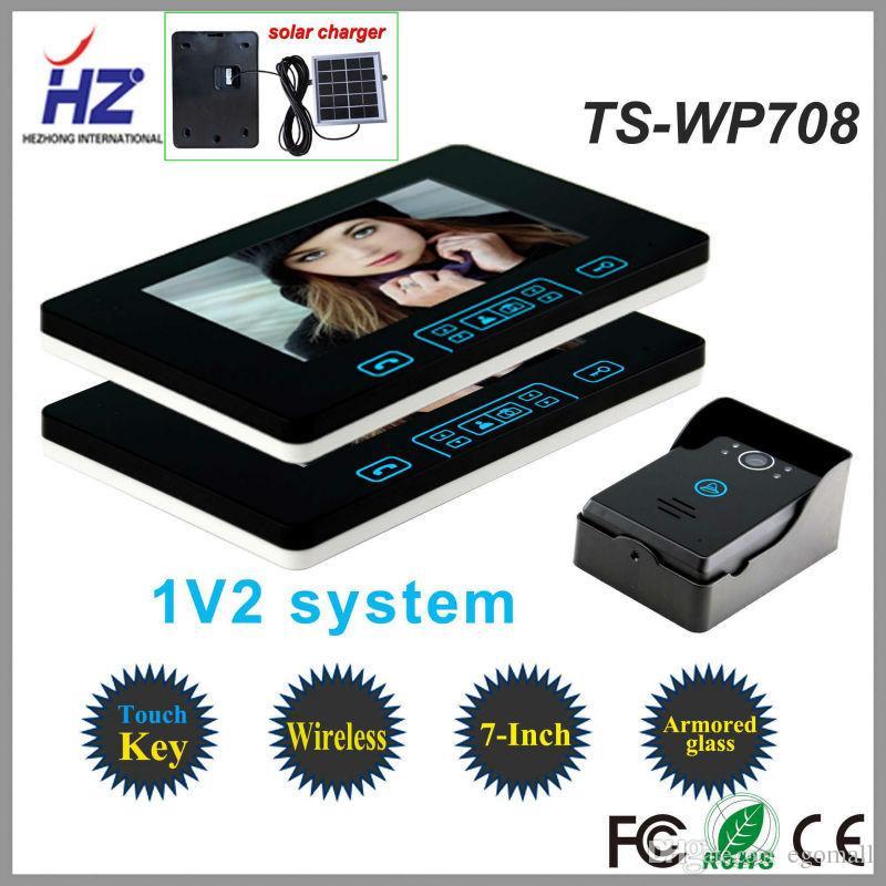 Saful 2.4 GHz 7 Inç Dijital Renkli Dokunmatik Ekran Görüntülü Kapı Telefonu İki Kapalı Monitör ve bir Açık Kamera ile Otomatik Video Kaydedici