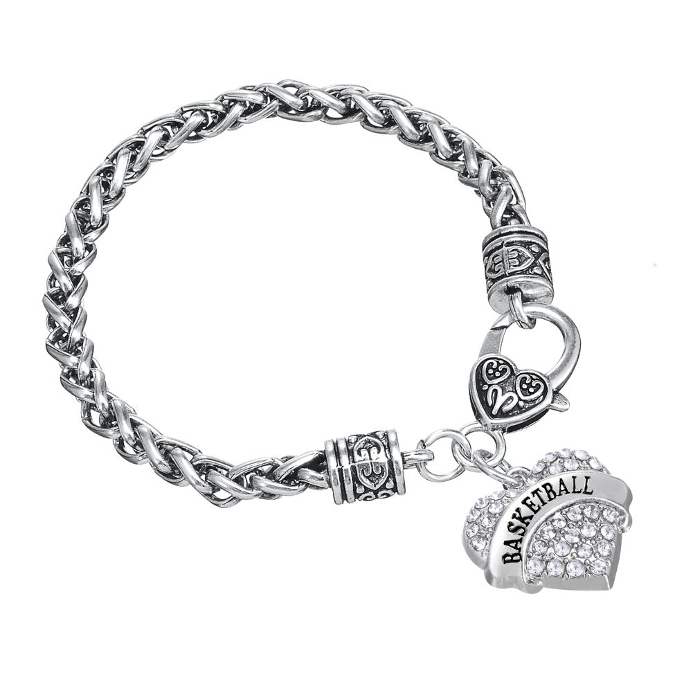 Sweet Heart Crystal Wire Thick Bracelets Word Basketball Charm Bangles Twisted Chain DIY Bangle Friendship Jewelry