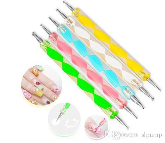 Freier DHL! 5 Teile / satz Hohe Qualität Zwei-wege Punktierstift Marbleizing Malwerkzeug Nail art Dot Set # DT05
