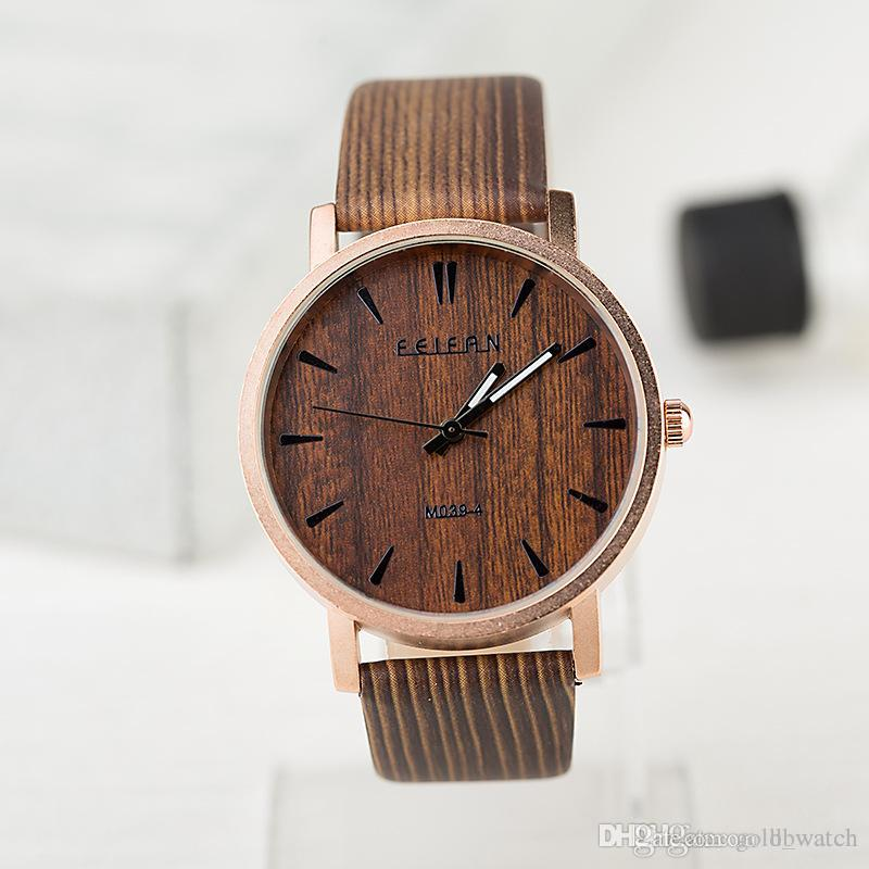 vintage leather wristwatch superior in for watch fashion s women from wood new gift grain watches item quartz analog