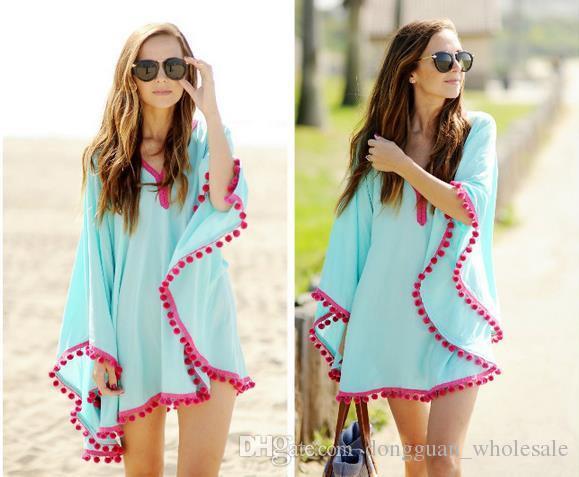 2016 été Femmes Manches Lâche Casual Mousseline De Soie Imprimer Beach Blouse chemise Cover Up Poncho Sexy Kimono