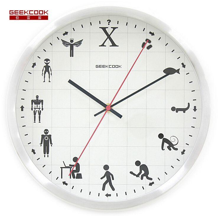 Clock Wall Metal Skeleton Large Black Iron With Red Dot Pendulum