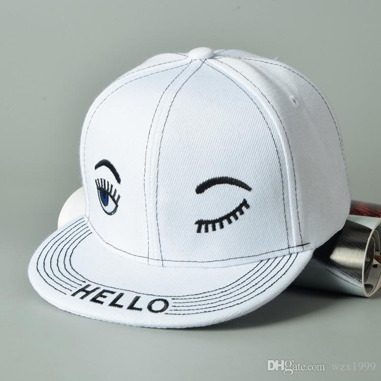 새로운 도착 속눈썹 자수 어린이 Snapback 야구 모자 소년 소녀 아이들 조정 가능한 안녕하세요 야구 모자 스냅 백 힙합 모자