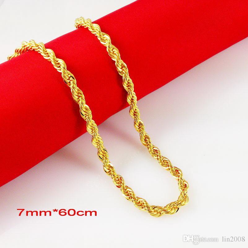 10mm * 60cm 24Kゴールドメッキ男性ゴールドメッキネックレス男性ジュエリー沖積エレガントなビンテージゴールデンチェーンジュエリー
