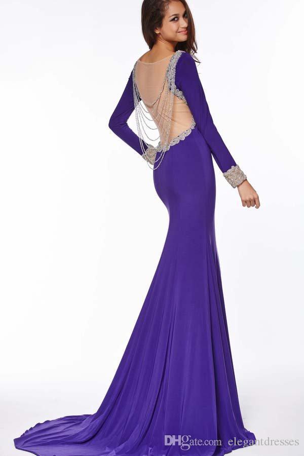 Ny design bling beading glittly full längd fest prom klänning med långärmad 2021 ren tillbaka