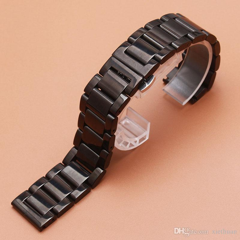 Hot accessory 18mm 19mm 20mm 22mm Watchband Mens Women High Quality Stainless Steel watch metal new Band Black polished Watch Bracelet Strap