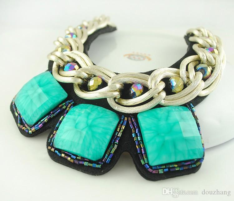 European Chunky Gold Plated Chain Exaggerated Square Resin Gem Statement Bib Necklace For Women