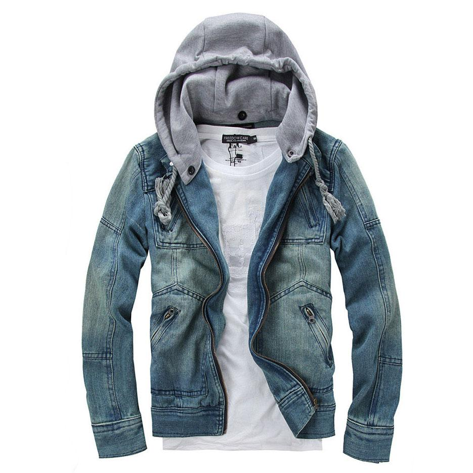 Denim Jacket Men Hooded Jean Jackets Streetwear Slim Fit Vintage ...