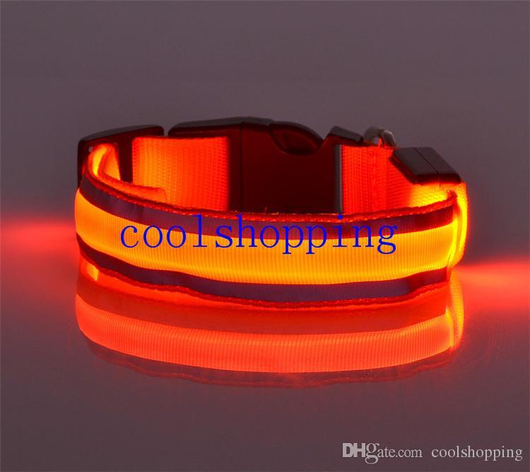 Trendy Puppy Pets Dogs Striped Mesh Nylon LED Night Flashlight Collar S-XL