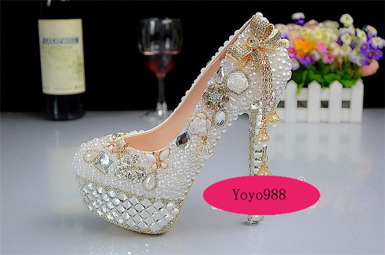 Bridal Shoes Bling Wedding Evening Handmade White Pearls Dress Round Toe High Heels Bow Tassel