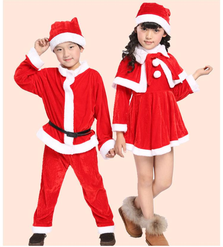2018 plus size childrens christmas santa claus cosplay boy girl baby kids pleuche christmas hat dress coat pants halloween clothing cosplay from - Santa Claus Children