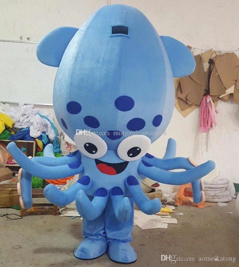 Hot Sale 2016 New Mascot Custom Squid Cartoon Doll Clothing Fashion Octopus Marine Life Character Costume