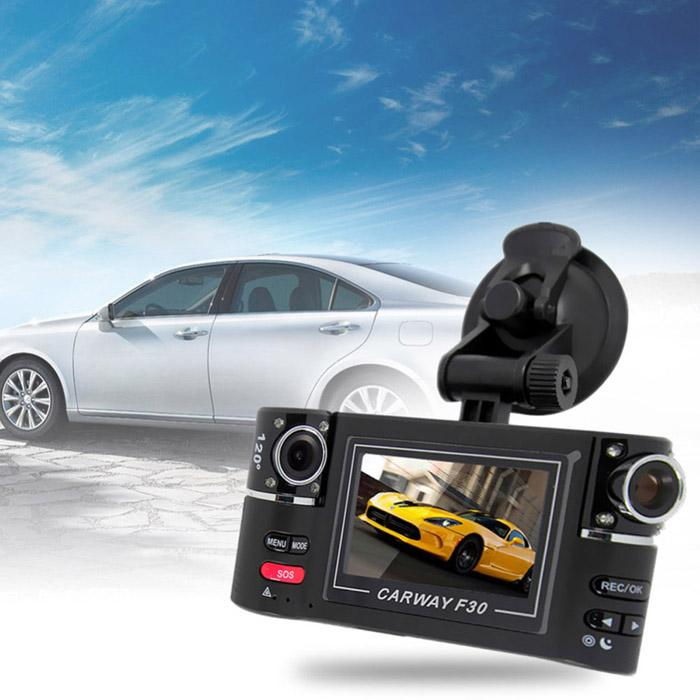 New Cheap Factory Price !! F30 Car DVR Dual Camera 720P Two Channels Car Video Audio Recorder DVR Motion Detecting DV F20 Update Version DHL