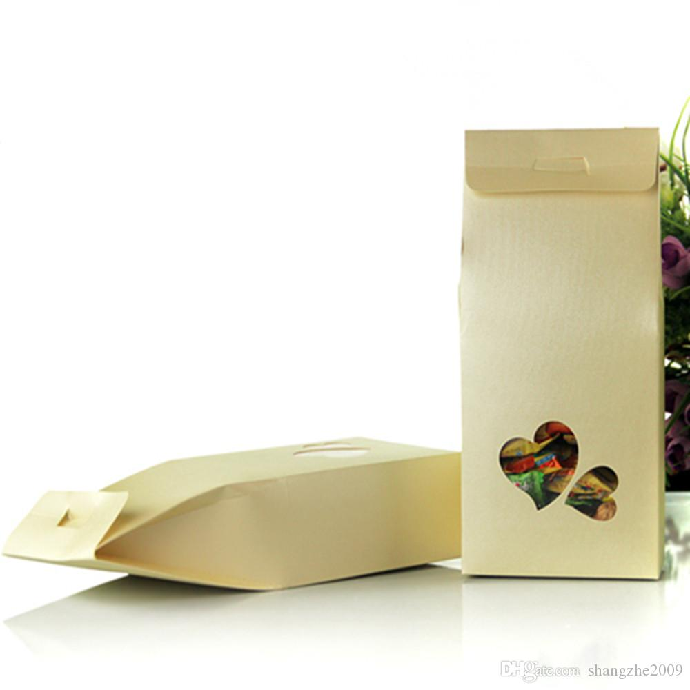 11*23+5cm Kraft Paper Box With Clear Heart Window Wedding Favor Candy Gift Packing Bag Box Food Snack Chocolate Nuts Storage Packaging