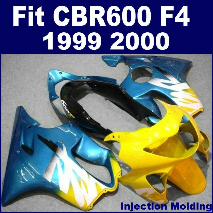 Injection molding for HONDA body repair parts fairings CBR 600 F4 1999 2000 blue yellow 99 00 cbr600 f4 custom fairings N8MD
