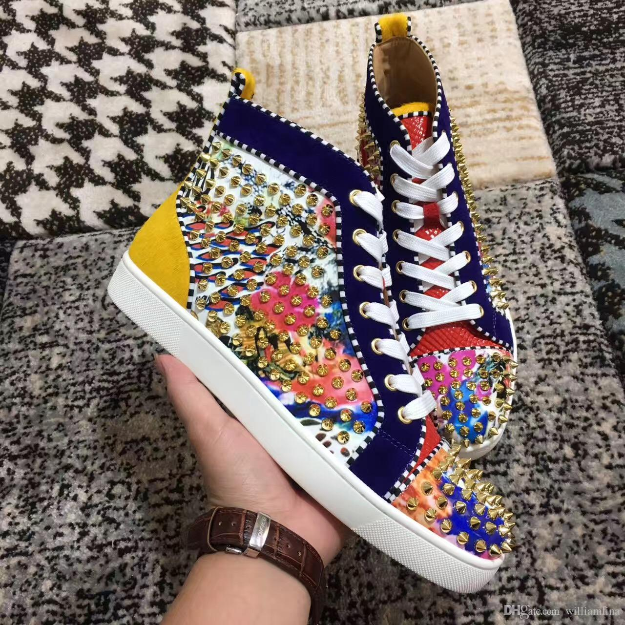 Gold Spikes Flower Leather Women,Men Unisex Sneakers Shoes Design High Top Red Bottom Shoes Stud Casual Walking Flats Size 35-46