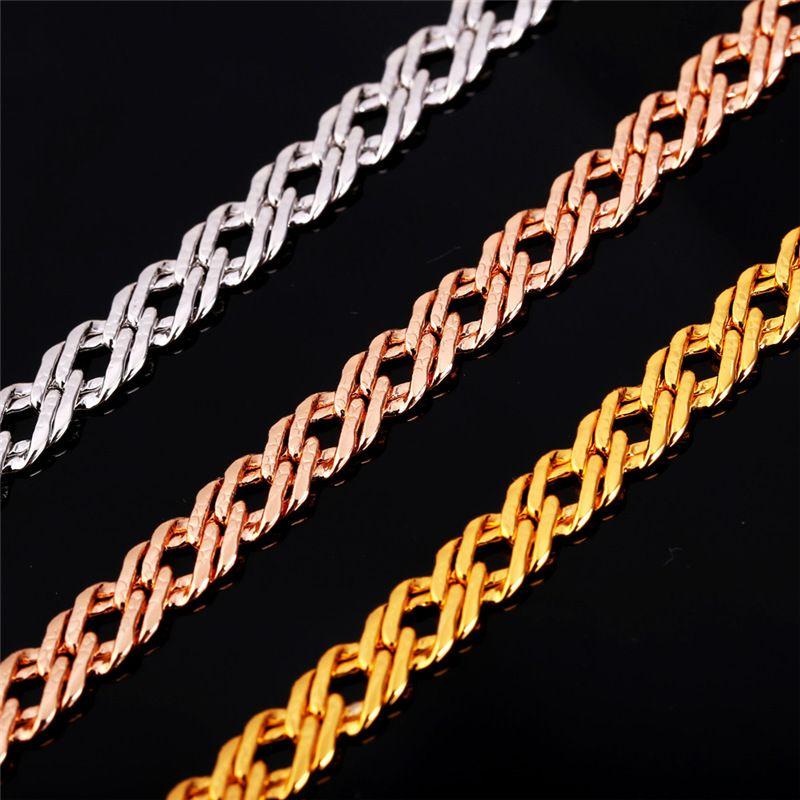 Мужчины золотая цепь 18k штамп женщины мужчины ювелирные наборы Розовое Золото / Платина покрытием старинные ожерелье браслет набор