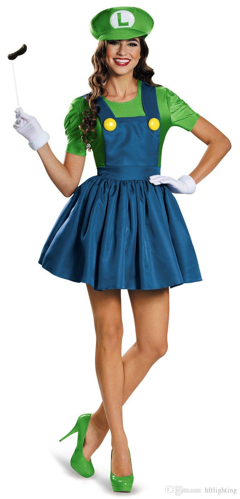 Women's Red Green Super Mario Plumbers Couples Costume Dress Masquerade Halloween Party Cosplay for Lady Girl One Size