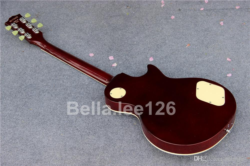 Factory OEM guitar shop,classical music instrument,Left handed electric guitars with thin burst color,
