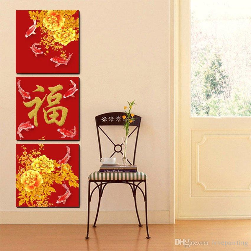 3 piezas pintura moderna cuadro de arte pintura sobre lienzo impresiones caracteres chinos peonía pez ciruela pintura del paisaje abstracto famoso aforismo