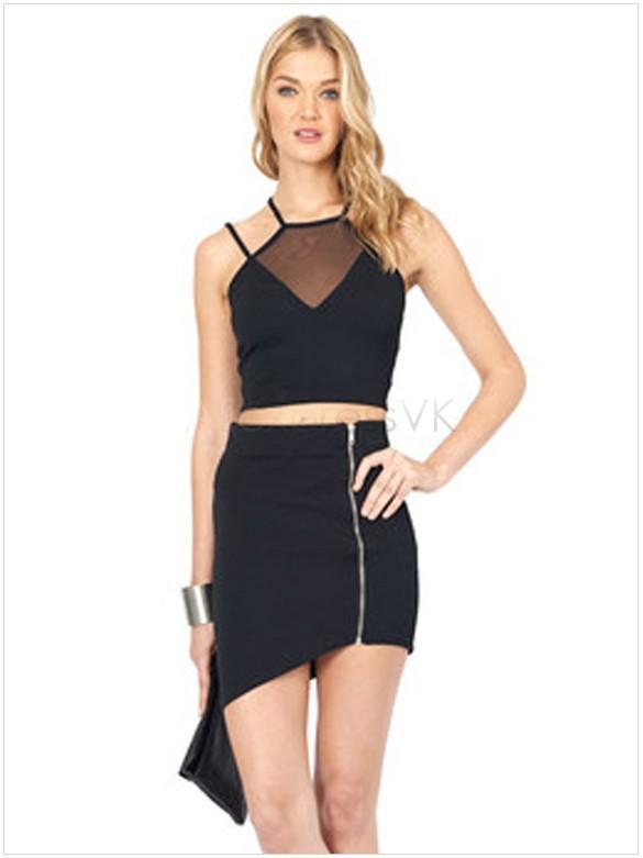 Marca de moda de verano correa sexy sin espalda sin mangas con cuello halter delgado chaleco camiseta mujeres Tops Casual negro Crop Top B11 CB033139