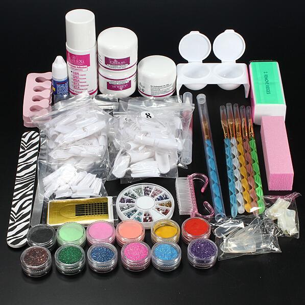 Professional Nail Art Set Kit Acrylic Powder Liquid Glitter Glue