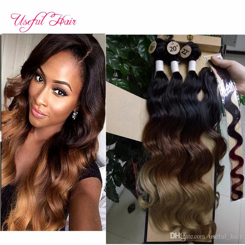 Synthetic 4 Bundles With Closure Ombre Color Marley Body Wave Hair