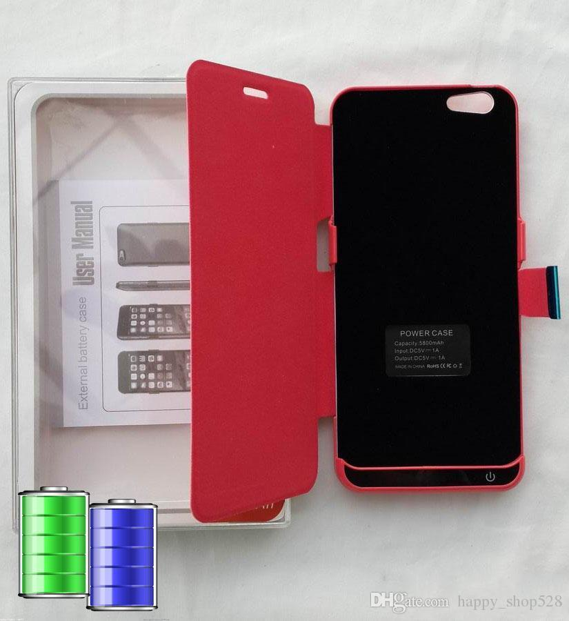 """5.5"""" iPhone6 plus 5800mAh power banks available now cover for iPhone 6 plus, charger case with leather case back, with retail packaging."""