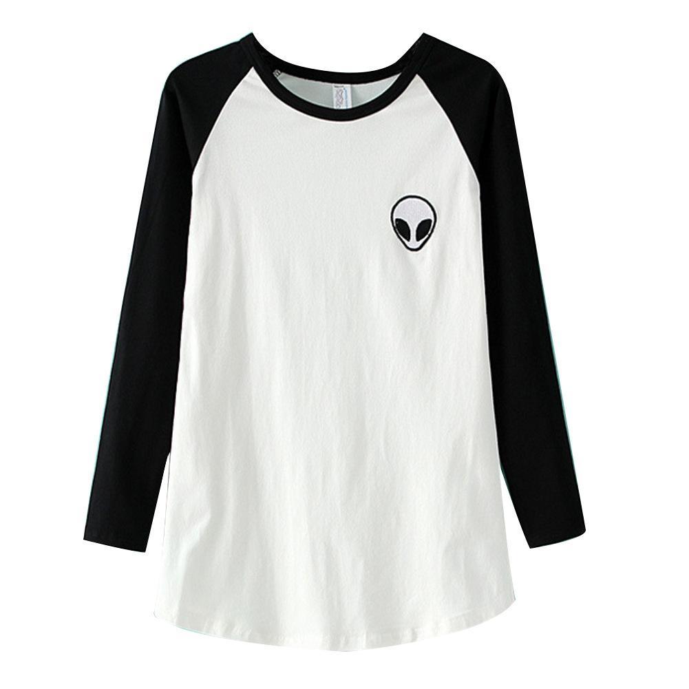 d948f39c 2016 Summer Womens T Shirt Harajuku Leisure Fashion T Shirts Alien Shirt  Raglan Sleeved Printed Ladies Tops Shirts Tees Femme Vintage Tee Shirts  Family T ...