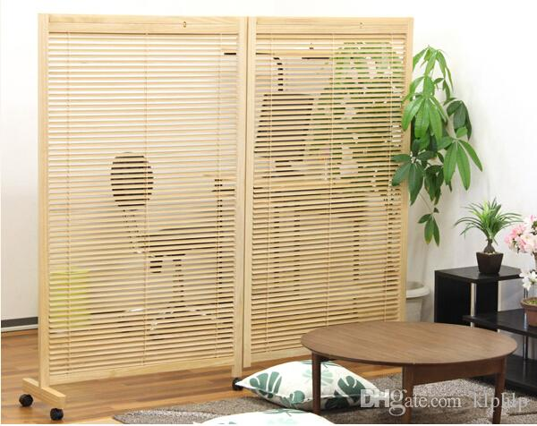 2017 Japanese Movable Wood Partition Wall 2 Panel Folding Screen Room Divider Home Decor Oriental Decorative Portable Asian Furniture From Klphlp