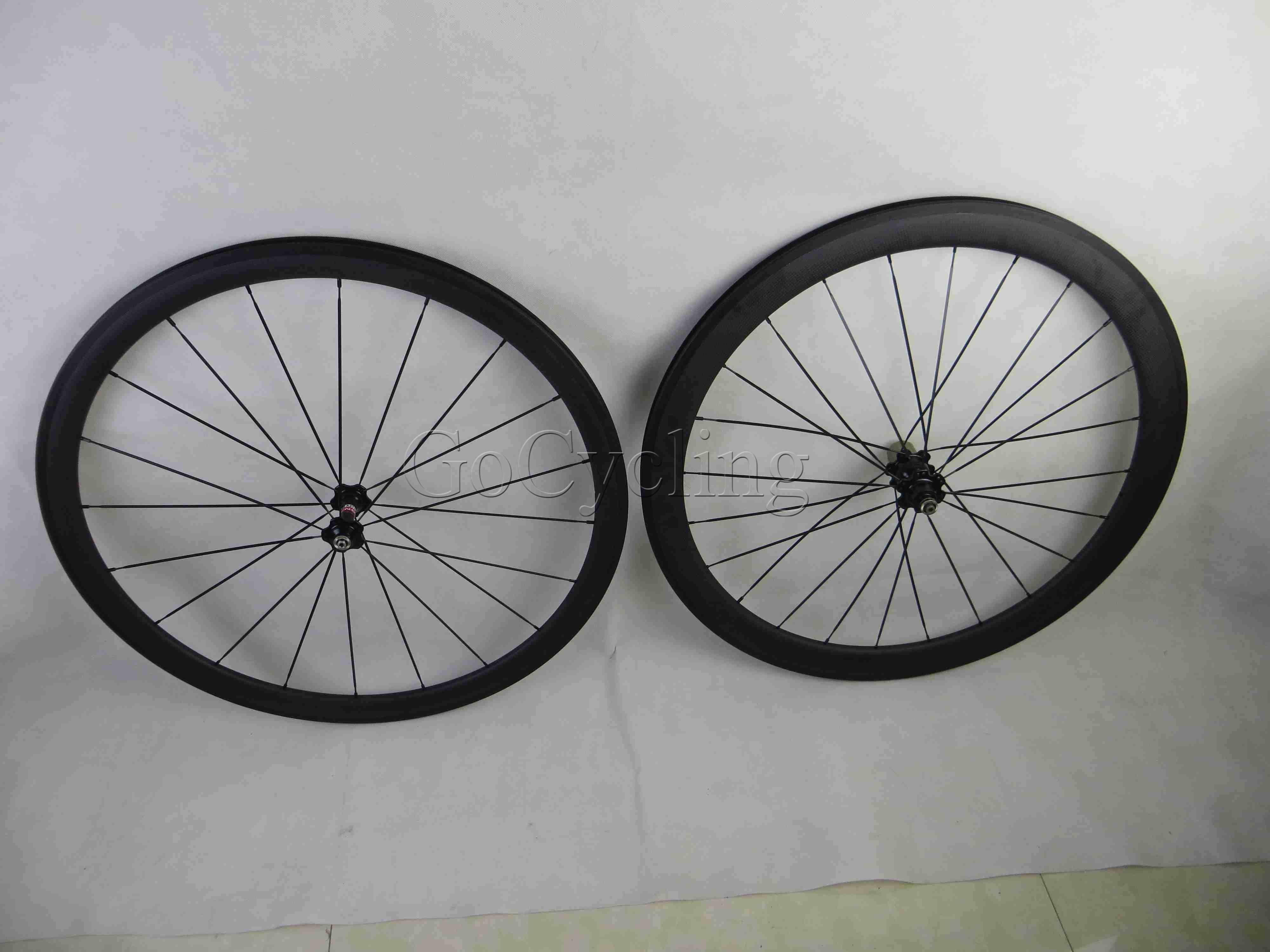 Carbon road bike wheels front wheel 38mm and rear wheel 50mm clincher tubular bicycle wheelset basalt brake surface 700c clear coat 3K matte