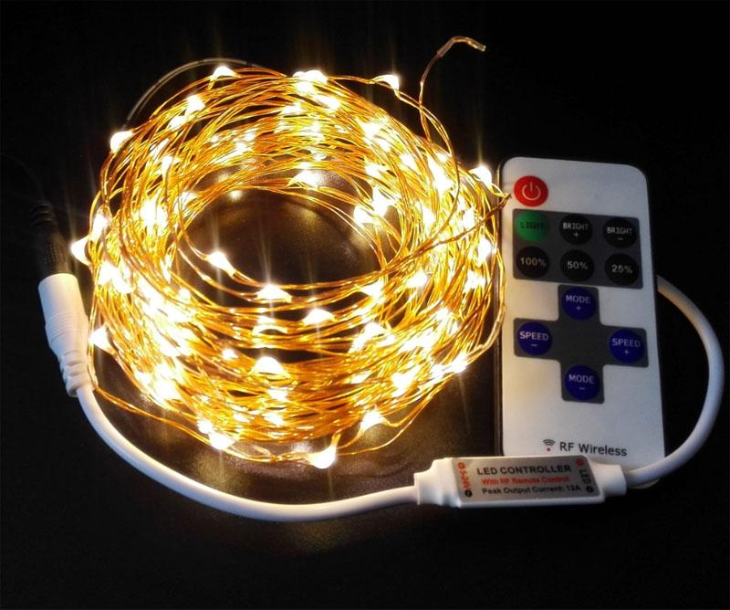 10m 100 33ft Rf Remote Control Dimmable Led Copper Wire String ...