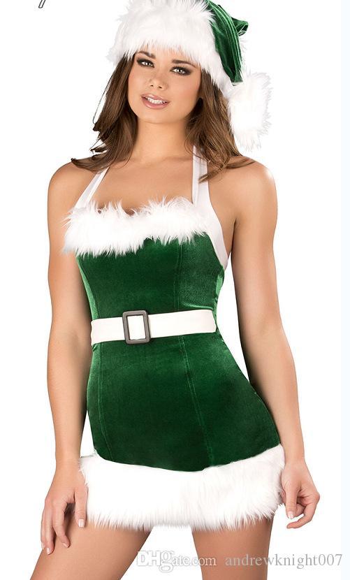 熱い販売コスプレクリスマスパーティードレス女性ギフトセクシーなスカートクリスマス帽子hollwweenレディースドレスサンタクロースコスチューム無料サイズ