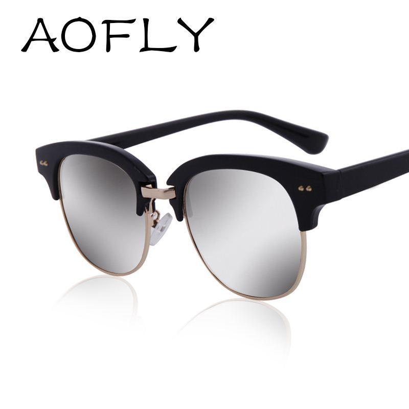 Compre Aofly Moda Semi Sin Montura Gafas De Sol Única De ...