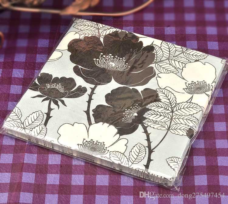 40 napkins table paper napkins tissue flower bird black and white vintage printed decoupage home bar hotel wedding party festive decorative