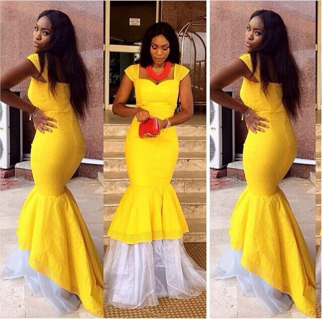 2015 Sexy Yellow Aso Ebi Style Dresses Evening Capped Meemaid Party ...
