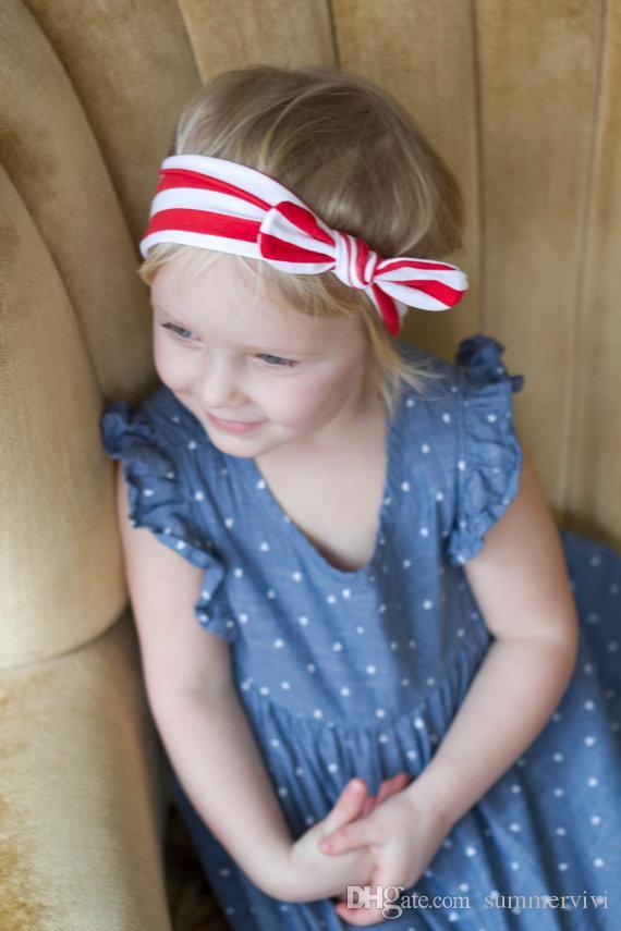Bébé Bébé rayé Girl Girls Beaux Bows Band Band Enfant Mignon Bunny Hare Head HeadWrap Headwrap Enfants Bow Bandeau Élastique A6402