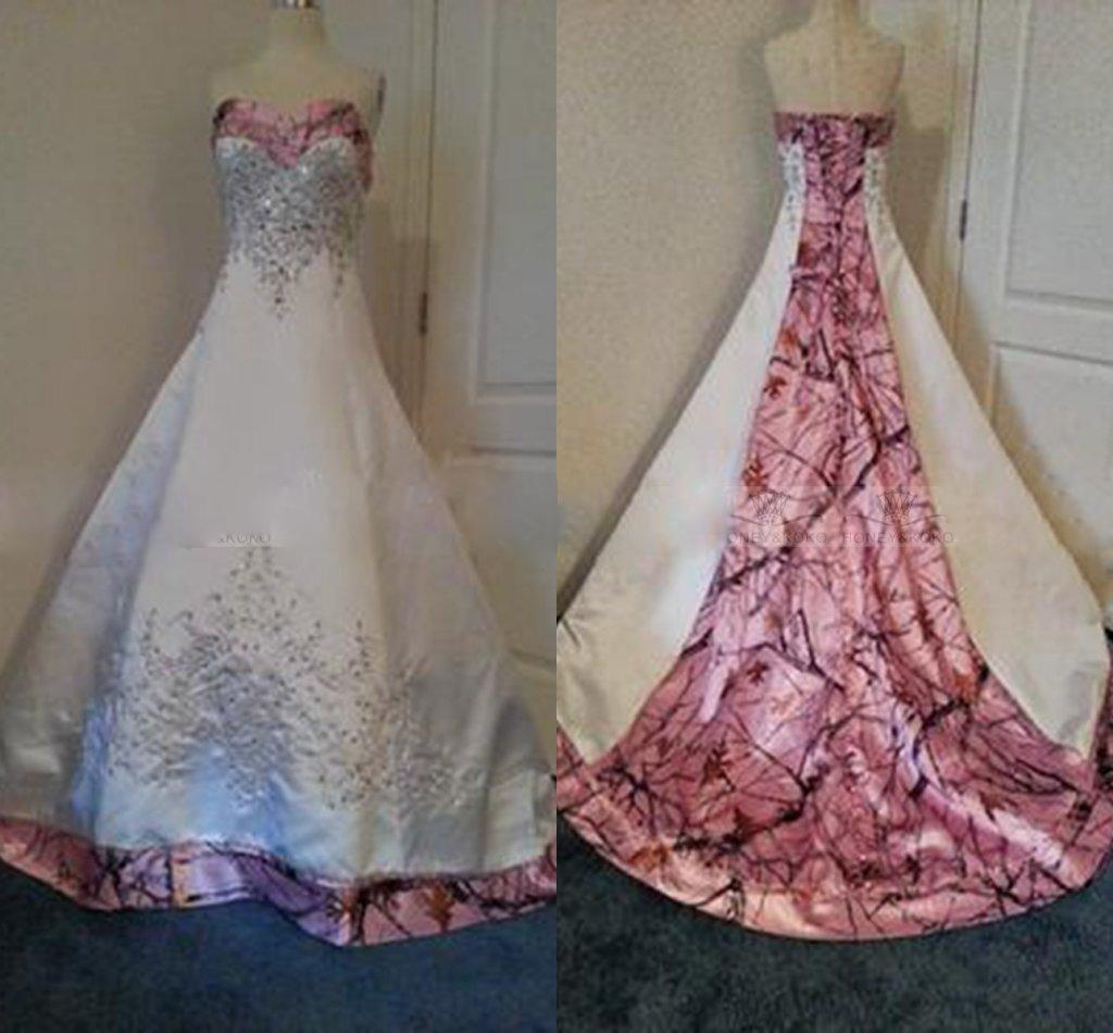 733145a7e3e Discount Designer Pink Camo Wedding Dresses 2016 Real Images Custom Made  New Bridal Gowns Sweetheart Court Train Corset Satin A Line Wedding Gowns  Latest ...