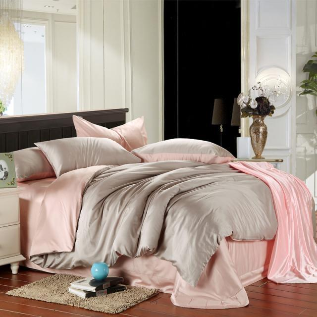 Pink And Grey Duvet Cover Bedding Set King Size Queen