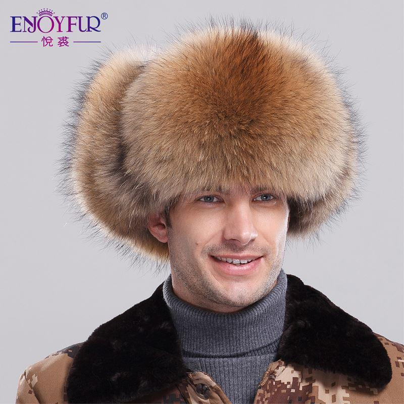 Fox Raccoon Fur Bomber Hat with Leather Top for Men Winter Ear Flaps ... 15e0e908ffe