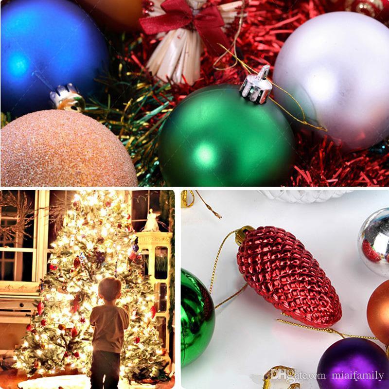 كرات شجرة عيد الميلاد كرات شاتيربروف 24 قطع أشجار عيد الميلاد الزفاف الأطراف البسيطة شجرة زينة لقضاء عطلة مع muticolor dhl شحن