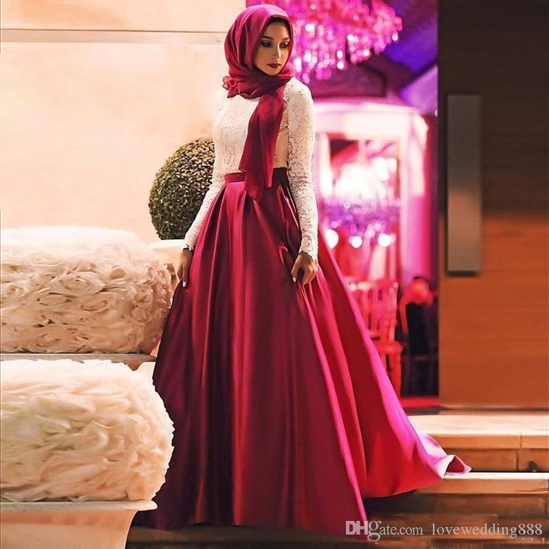 2019 Elegante musulmán Una línea Vestidos de baile Mangas largas Marfil y rojo Encaje Satén Hijab Vestido de noche formal Longitud del piso